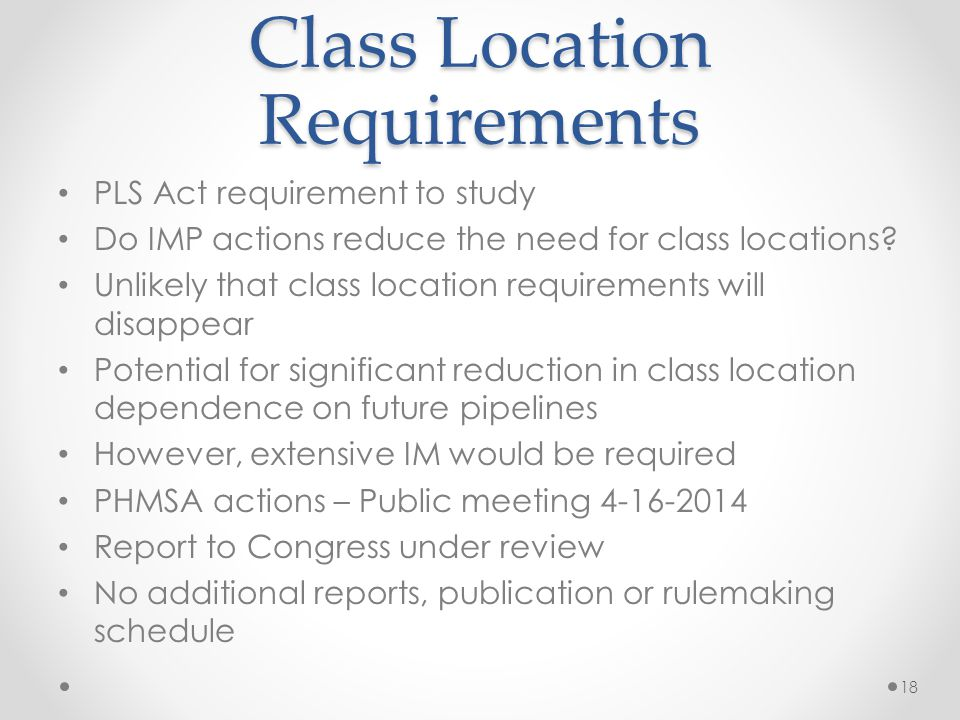 Class Location Requirements