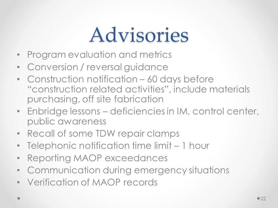 Advisories Program evaluation and metrics
