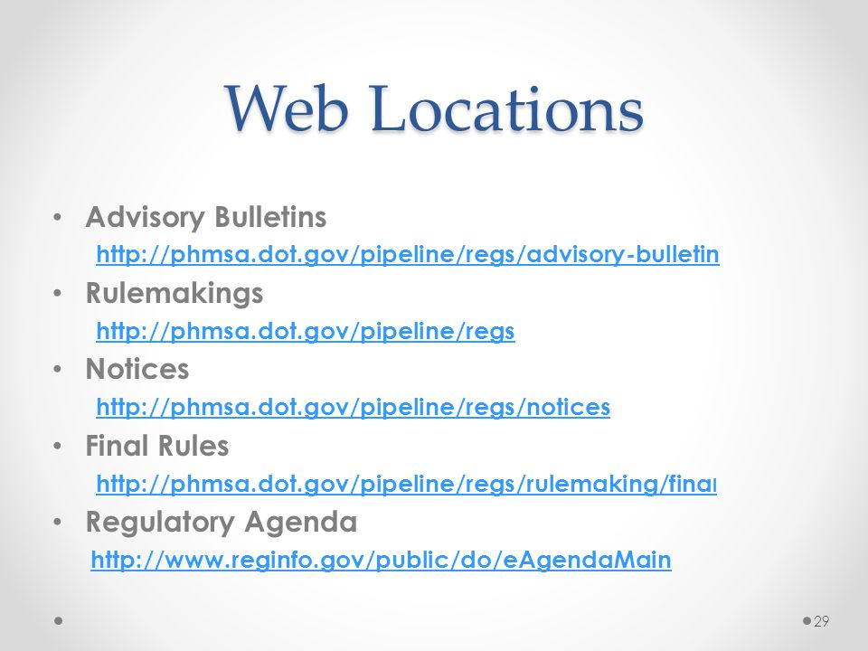 Web Locations Advisory Bulletins Rulemakings Notices Final Rules
