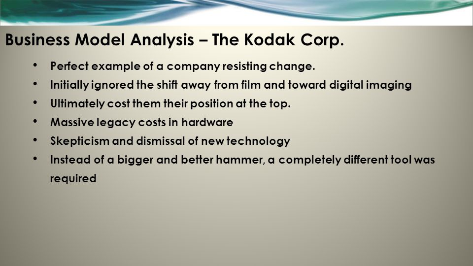 a business analysis of the kodak company A business analysis of eastman kodak co, a business-to-business (b2b) technology company offering imaging solutions for businesses, is provided, focusing on the strengths, weaknesses, opportunities and threats (swot) faced by the company.