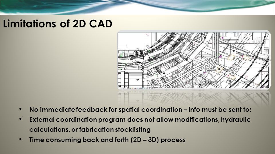 Limitations of 2D CAD No immediate feedback for spatial coordination – info must be sent to:
