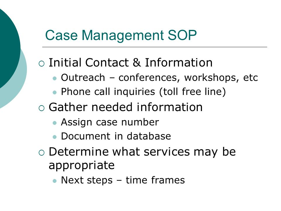 Case Management SOP Initial Contact & Information
