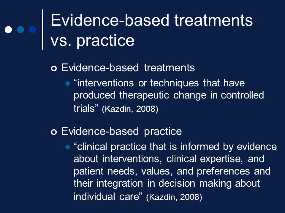 Evidence-based treatments vs. practice