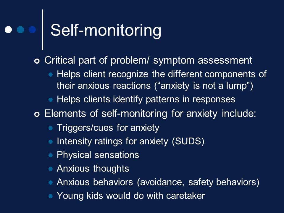 Self-monitoring Critical part of problem/ symptom assessment