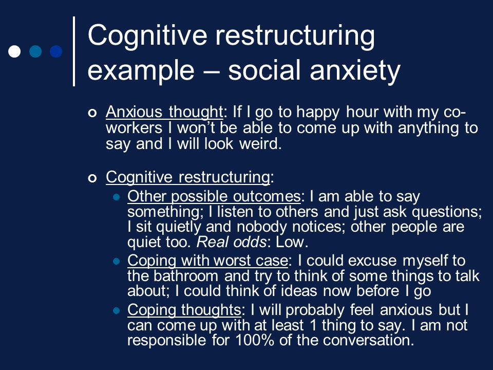 Cognitive restructuring example – social anxiety