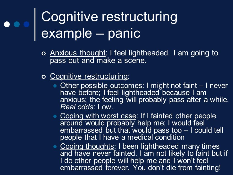 Cognitive restructuring example – panic
