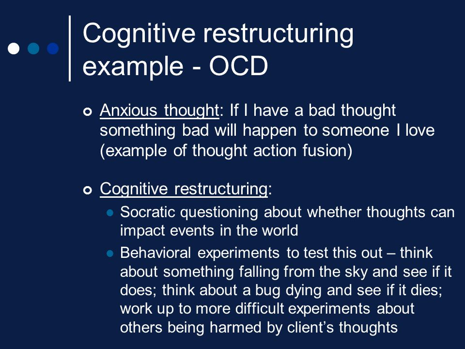 Cognitive restructuring example - OCD