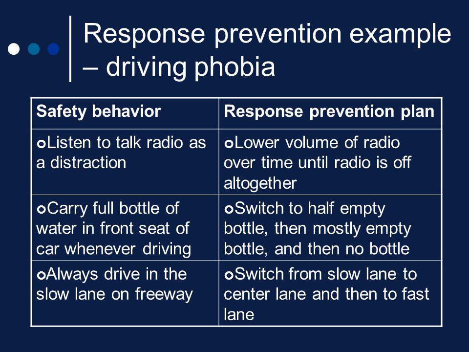 Response prevention example – driving phobia