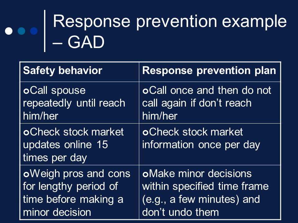 Response prevention example – GAD