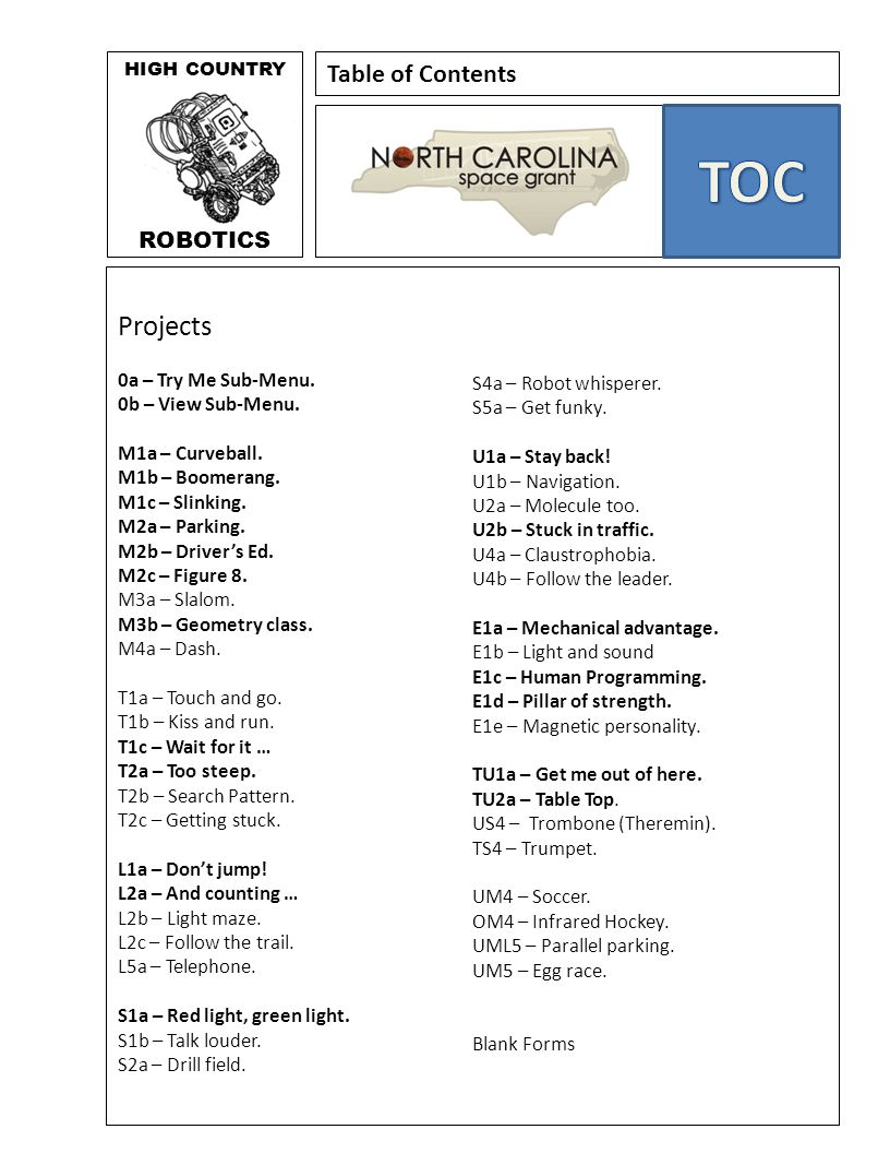 TOC Projects Table of Contents ROBOTICS 0a – Try Me Sub-Menu.