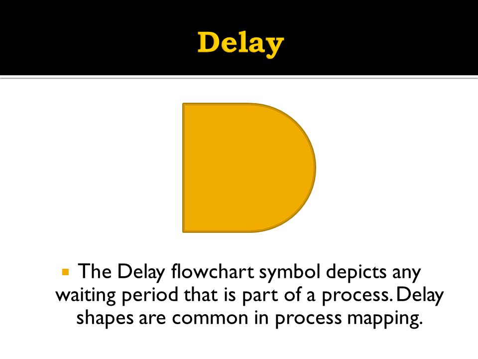 Delay The Delay flowchart symbol depicts any waiting period that is part of a process.