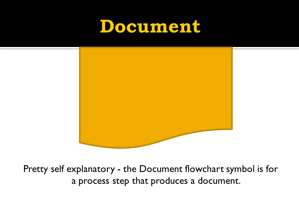 Document Pretty self explanatory - the Document flowchart symbol is for a process step that produces a document.
