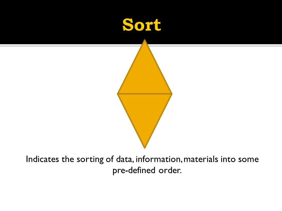Sort Indicates the sorting of data, information, materials into some pre-defined order.
