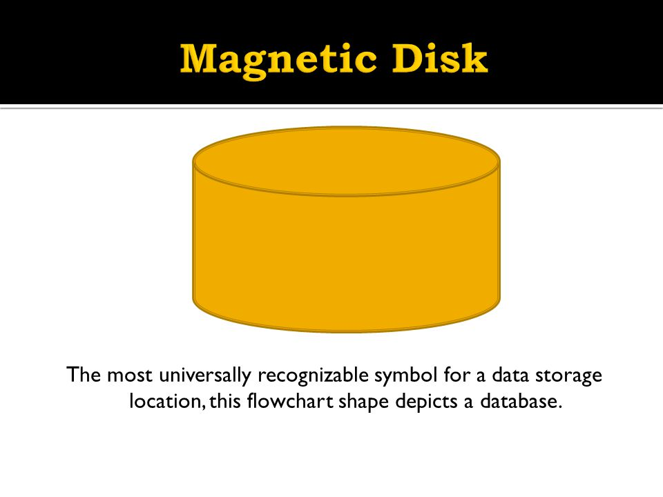 Magnetic Disk The most universally recognizable symbol for a data storage location, this flowchart shape depicts a database.