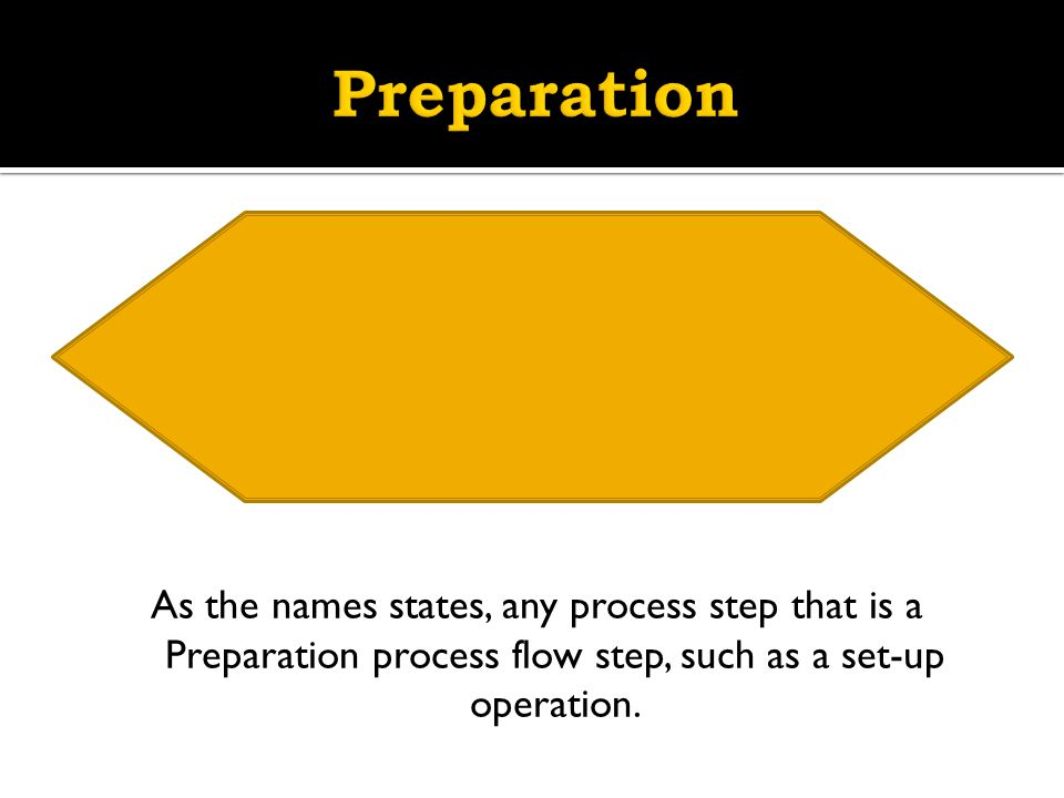 Preparation As the names states, any process step that is a Preparation process flow step, such as a set-up operation.