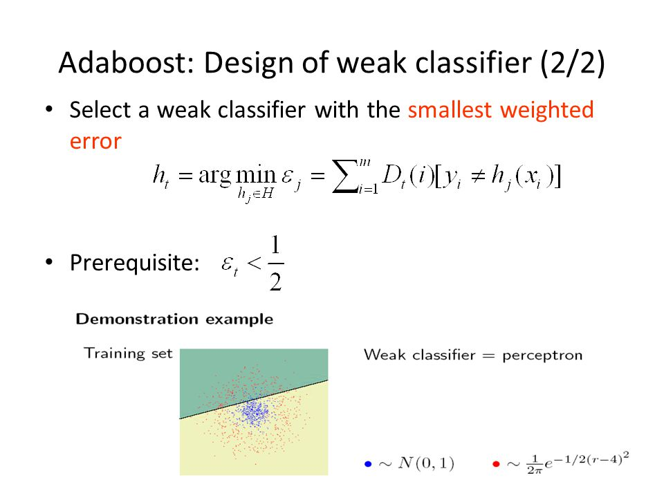 Adaboost: Design of weak classifier (2/2)
