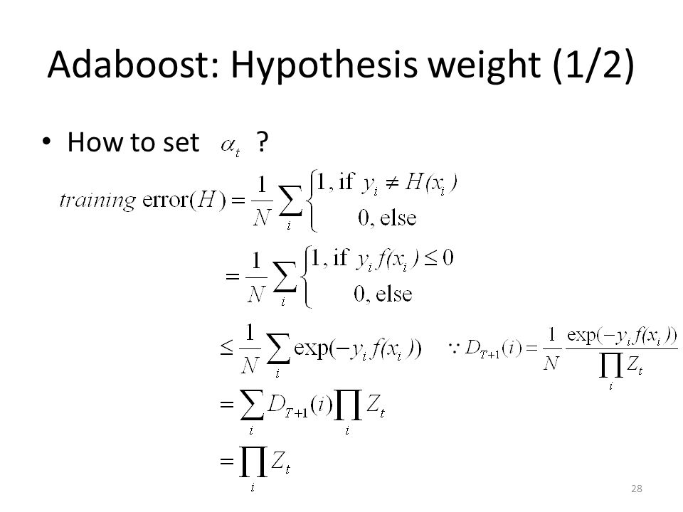 Adaboost: Hypothesis weight (1/2)