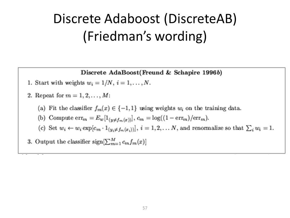 Discrete Adaboost (DiscreteAB) (Friedman's wording)