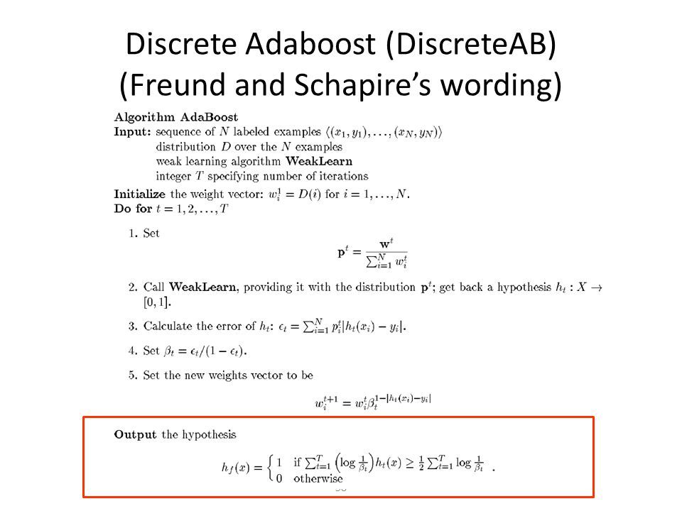 Discrete Adaboost (DiscreteAB) (Freund and Schapire's wording)
