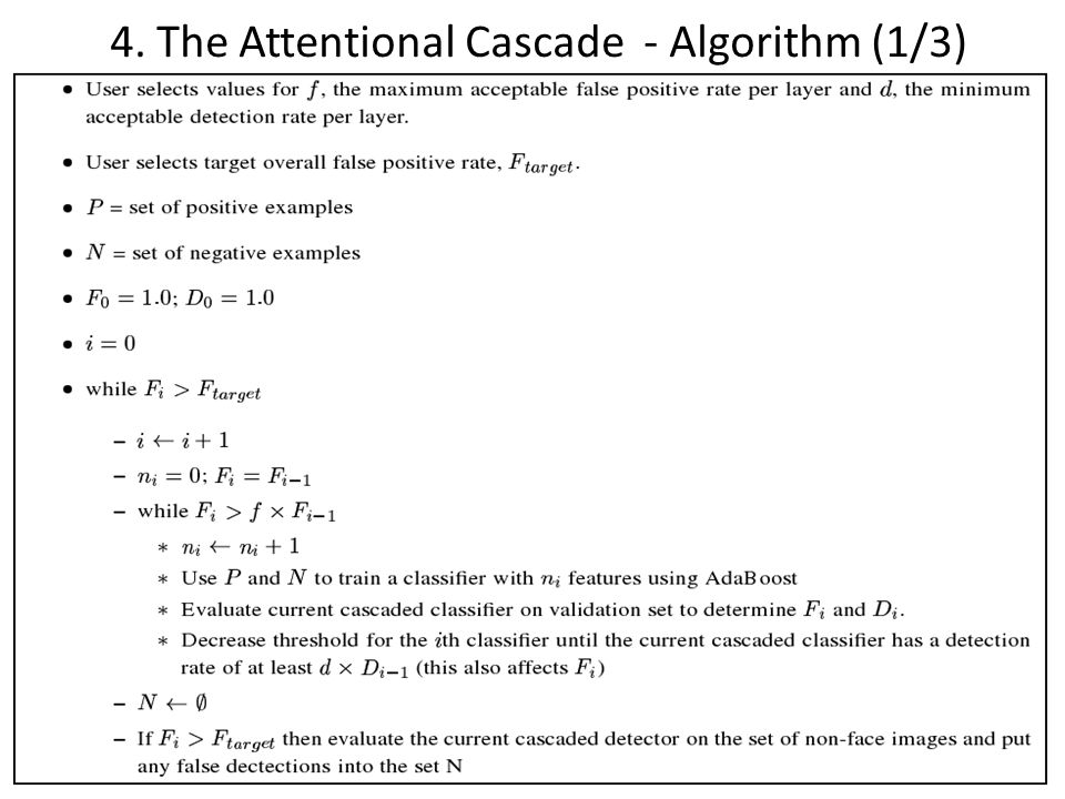 4. The Attentional Cascade - Algorithm (1/3)