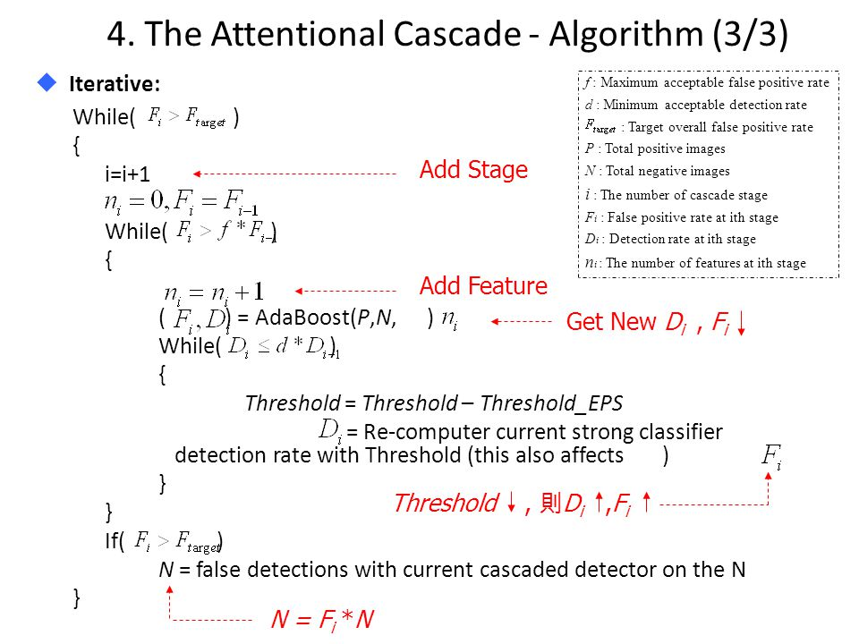 4. The Attentional Cascade - Algorithm (3/3)