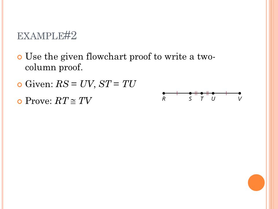 example#2 Use the given flowchart proof to write a two- column proof.