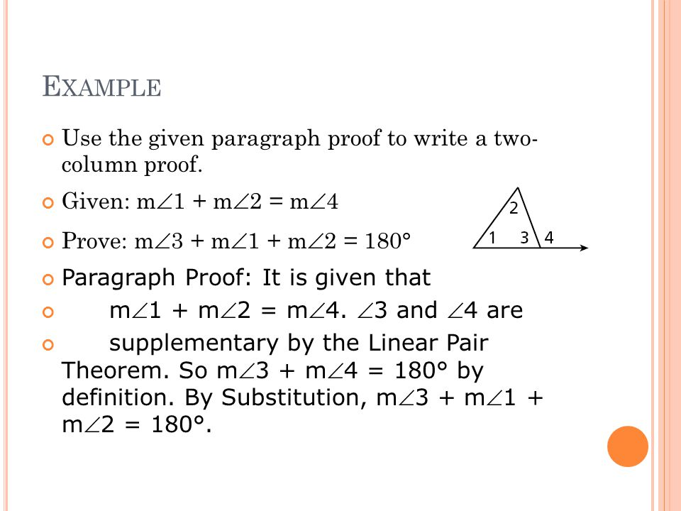 Example Use the given paragraph proof to write a two- column proof.
