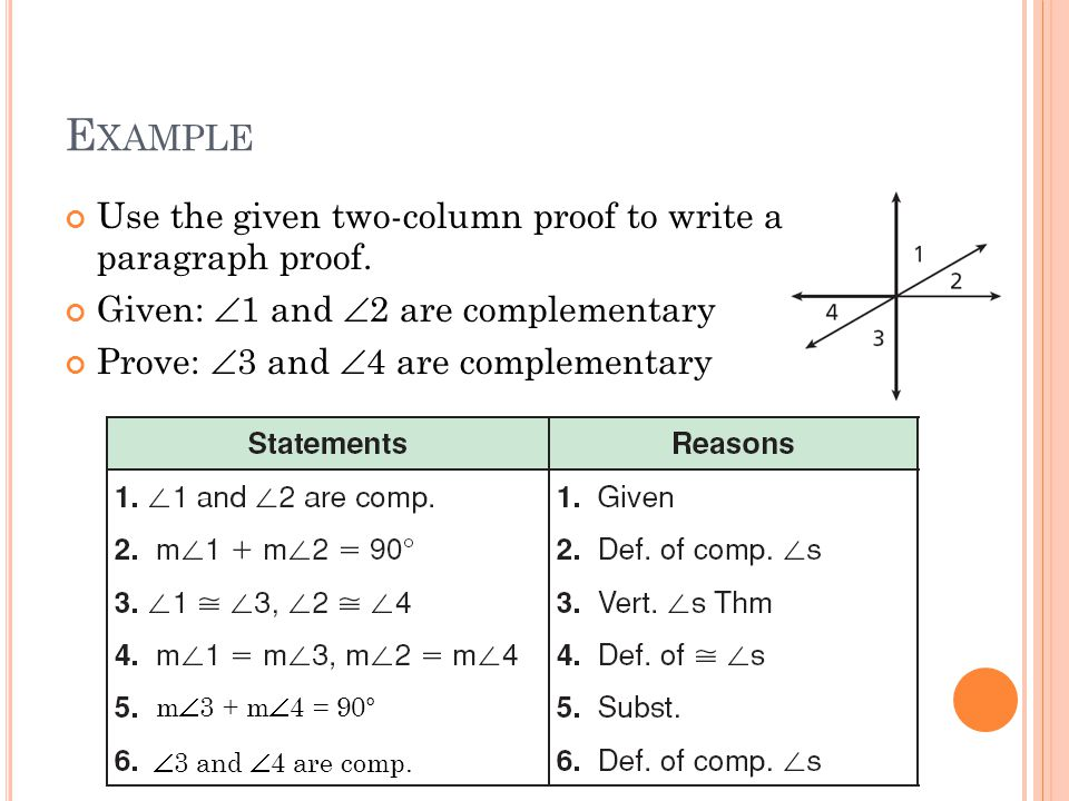 Example Use the given two-column proof to write a paragraph proof.