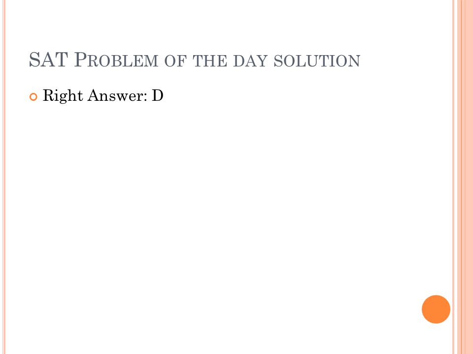 SAT Problem of the day solution