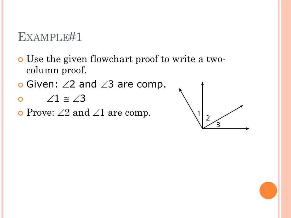Example#1 Use the given flowchart proof to write a two- column proof.
