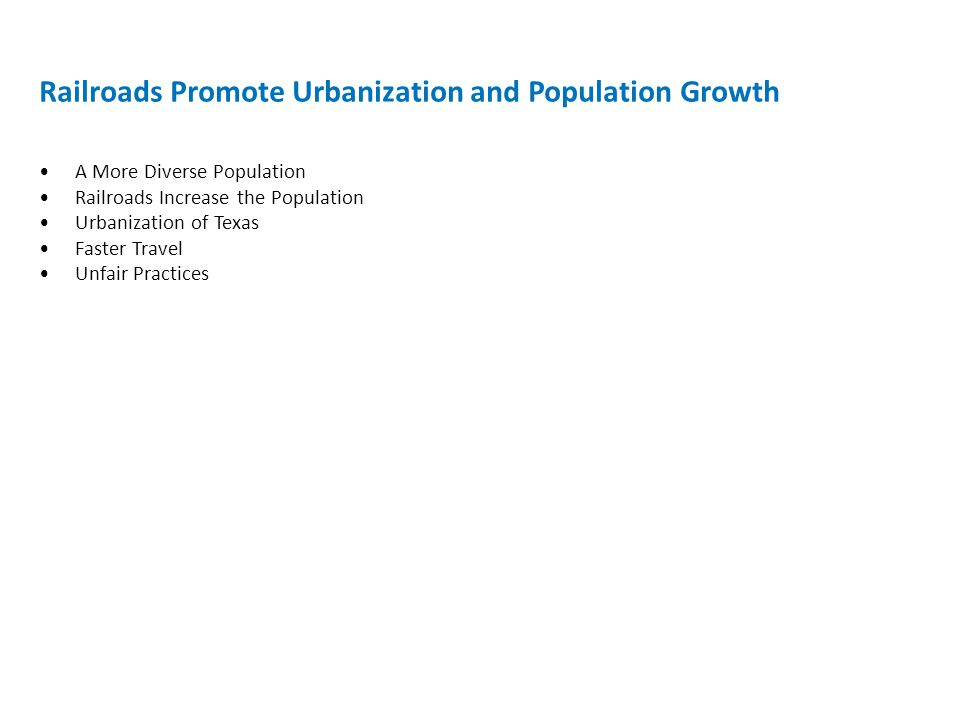 Railroads Promote Urbanization and Population Growth