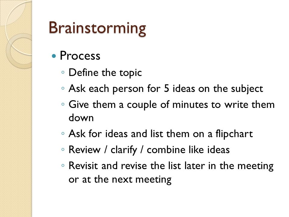Brainstorming Process Define the topic