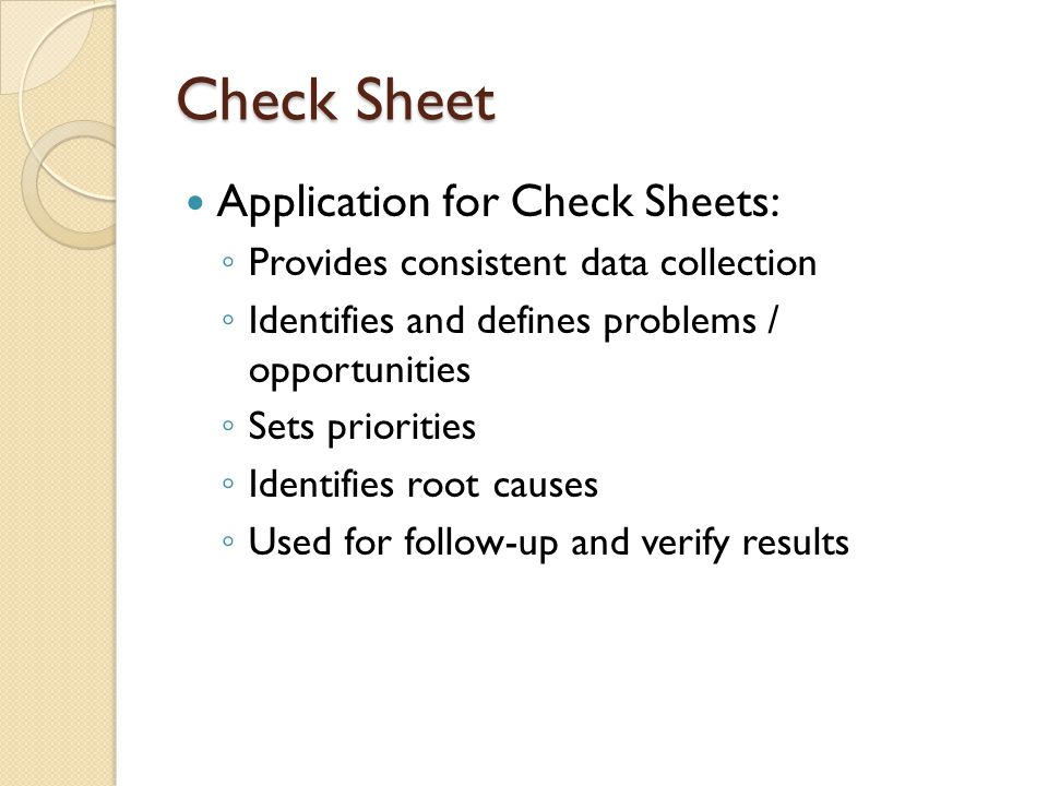 Check Sheet Application for Check Sheets: