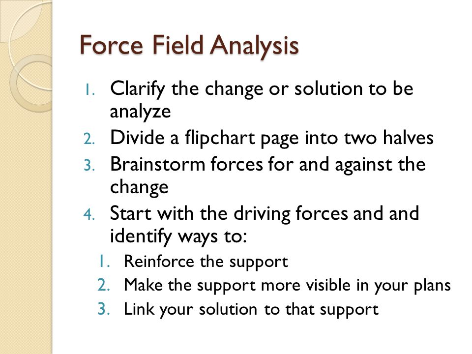 Force Field Analysis Clarify the change or solution to be analyze