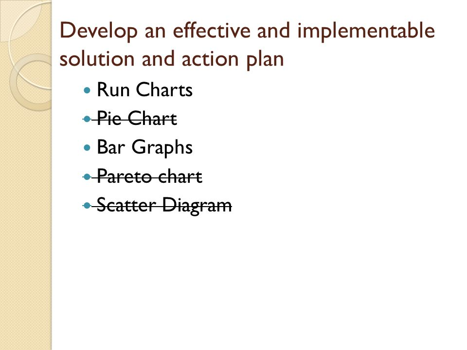 Develop an effective and implementable solution and action plan