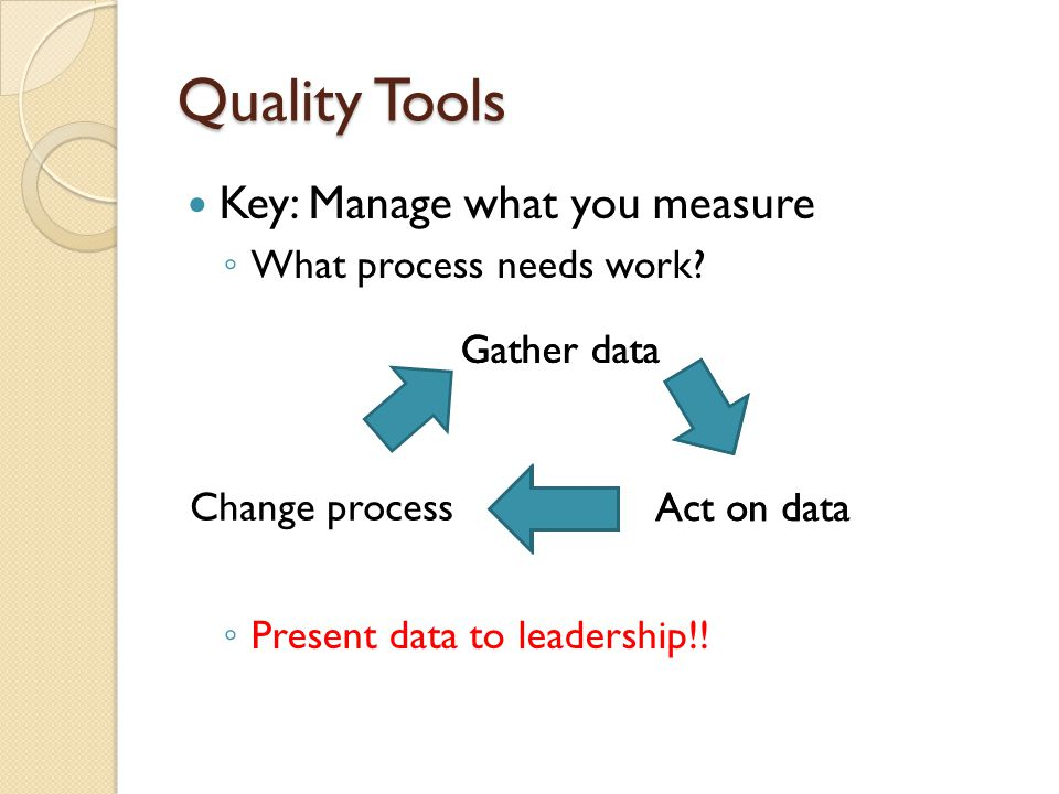 Quality Tools Key: Manage what you measure What process needs work