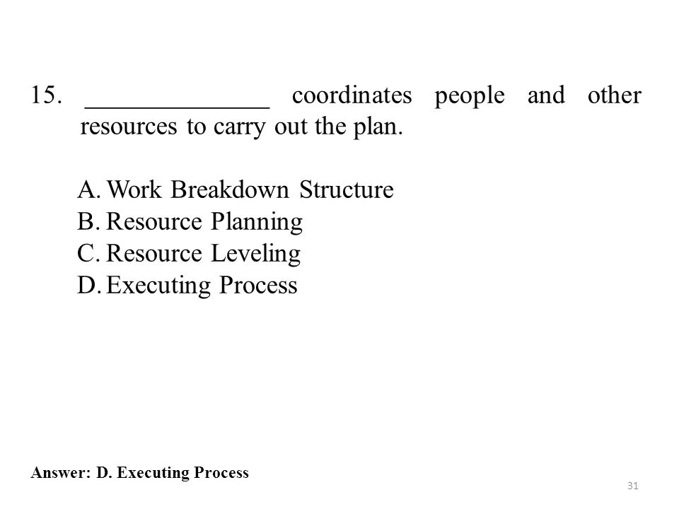 Work Breakdown Structure Resource Planning Resource Leveling
