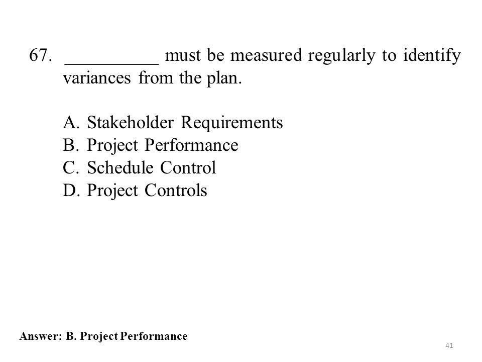 Stakeholder Requirements Project Performance Schedule Control