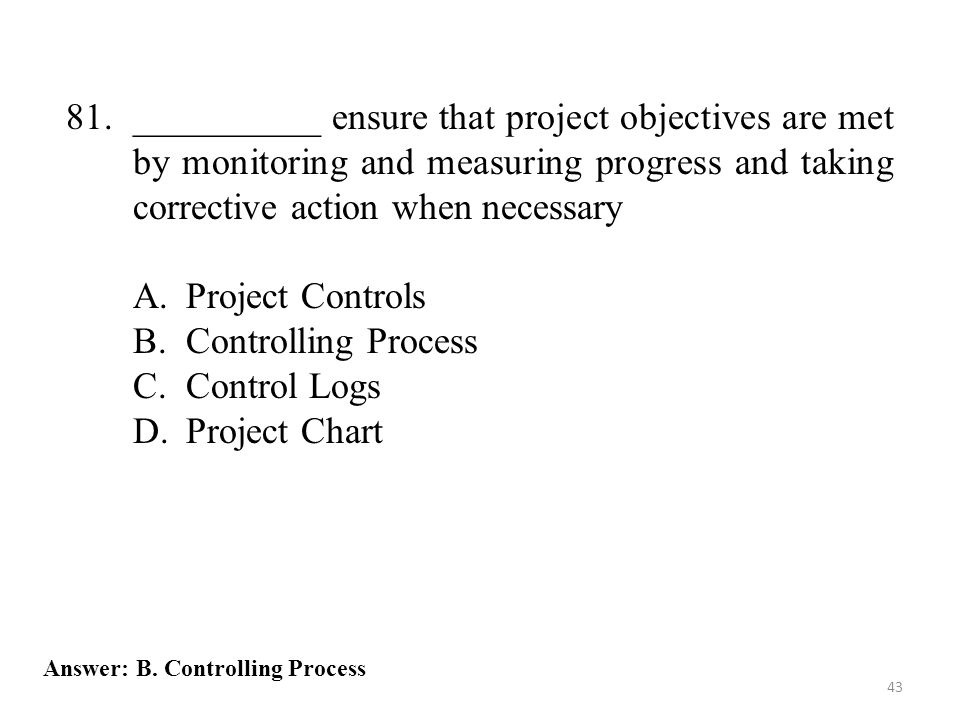81. __________ ensure that project objectives are met by monitoring and measuring progress and taking corrective action when necessary