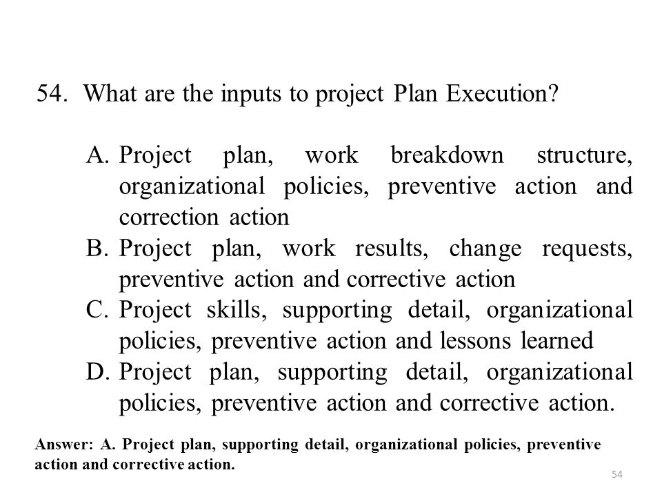 54. What are the inputs to project Plan Execution