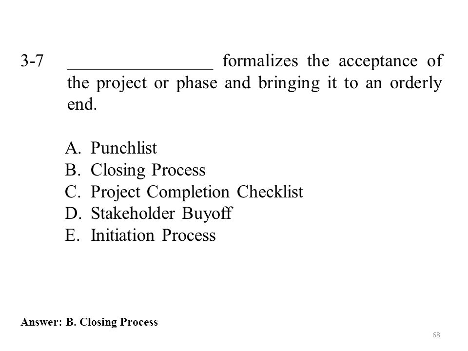 Project Completion Checklist Stakeholder Buyoff Initiation Process