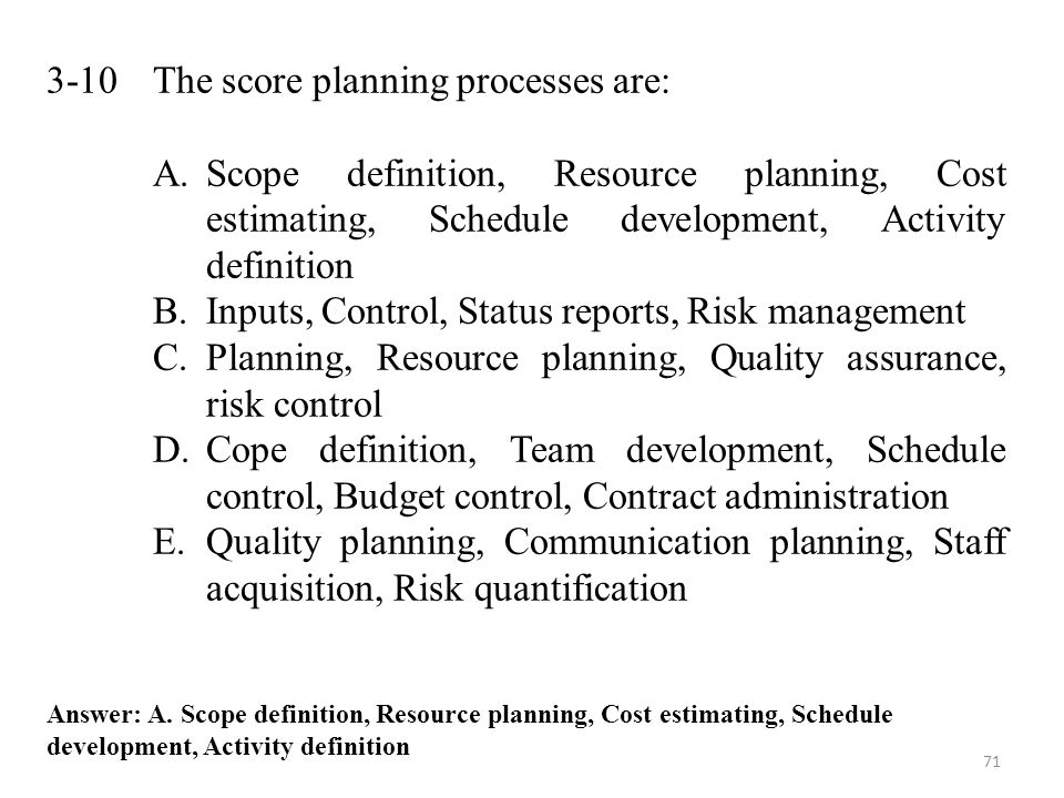 3-10 The score planning processes are: