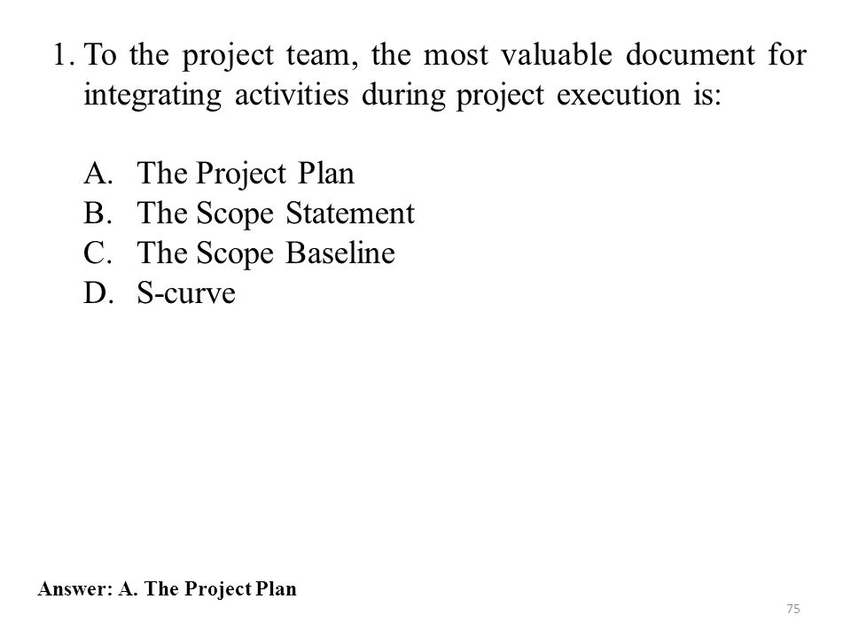 To the project team, the most valuable document for integrating activities during project execution is: