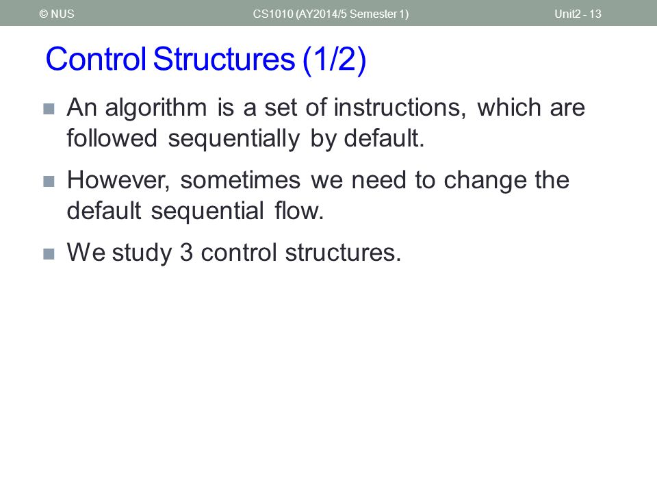 Control Structures (1/2)