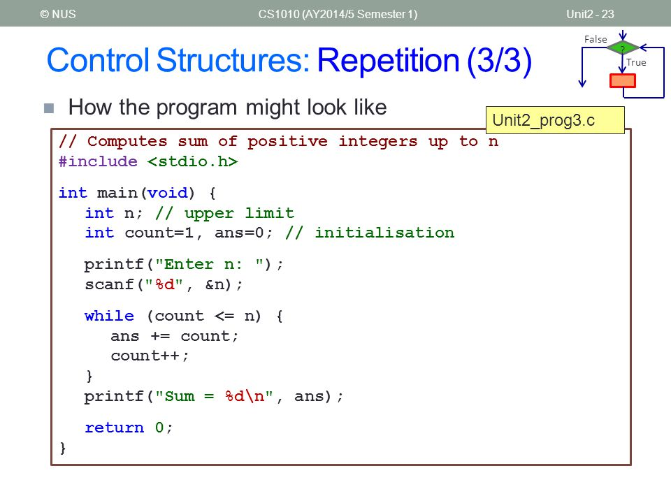 Control Structures: Repetition (3/3)