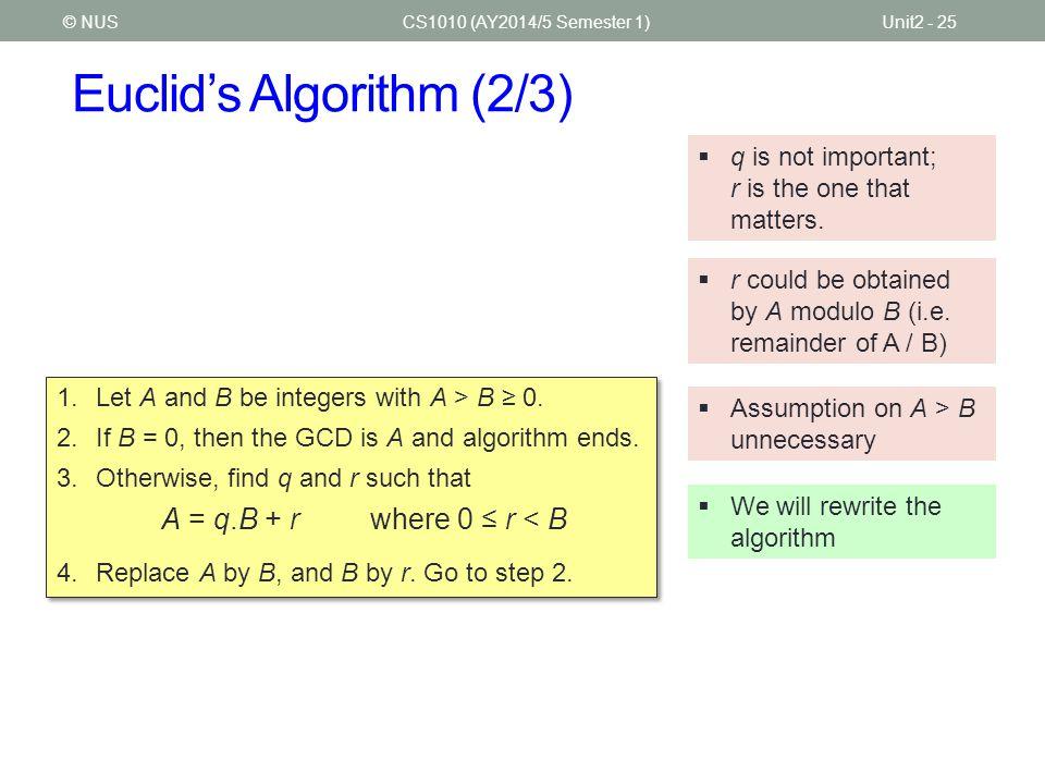 Euclid's Algorithm (2/3)