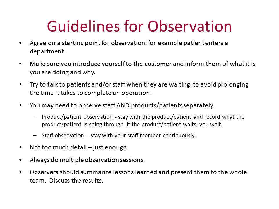 Guidelines for Observation
