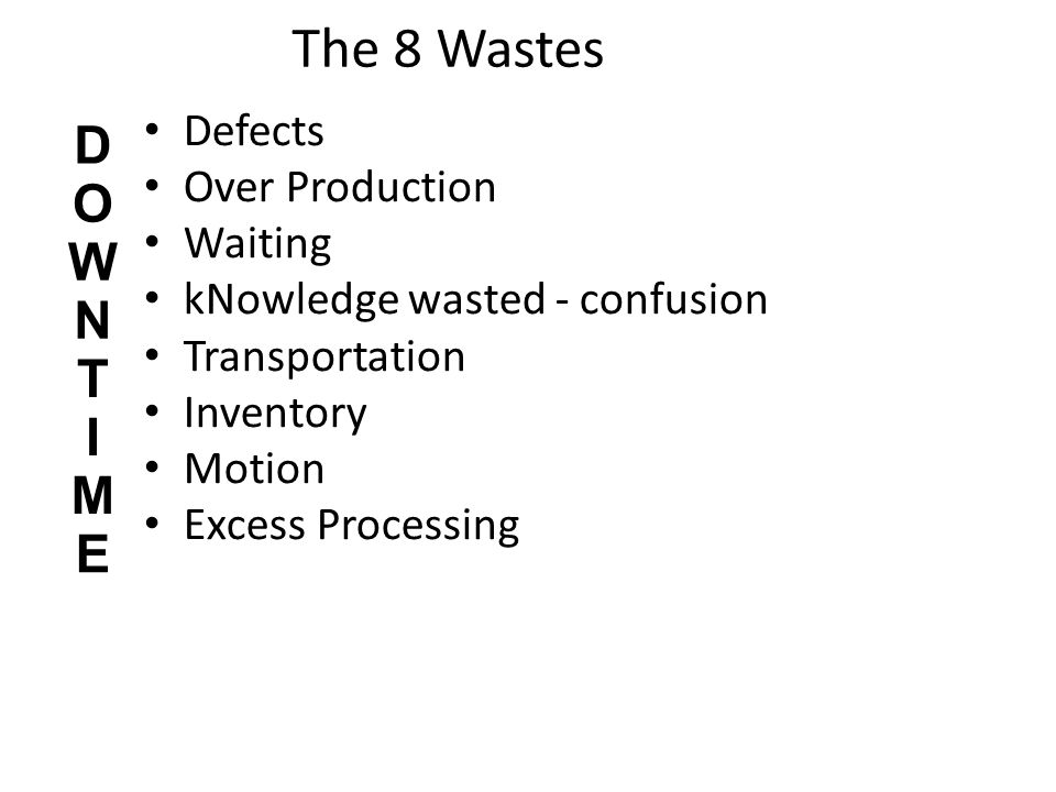 The 8 Wastes D O W N T I M E Defects Over Production Waiting