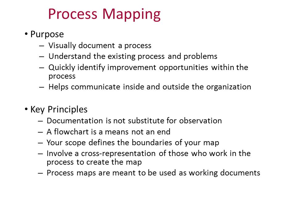 Process Mapping Purpose Key Principles Visually document a process