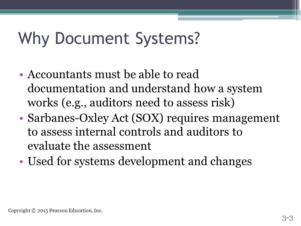 Why Document Systems Accountants must be able to read documentation and understand how a system works (e.g., auditors need to assess risk)